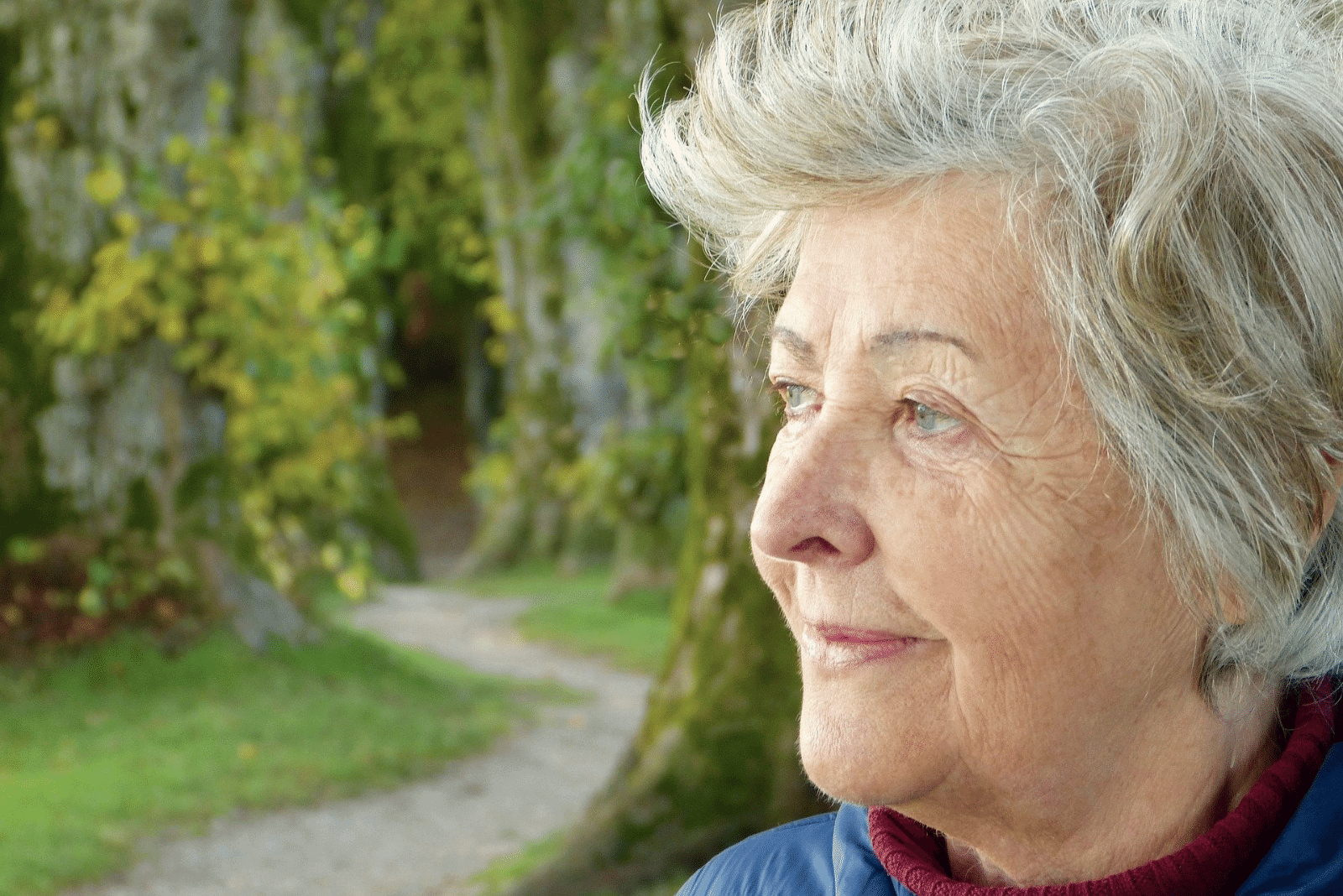 elderly woman outside