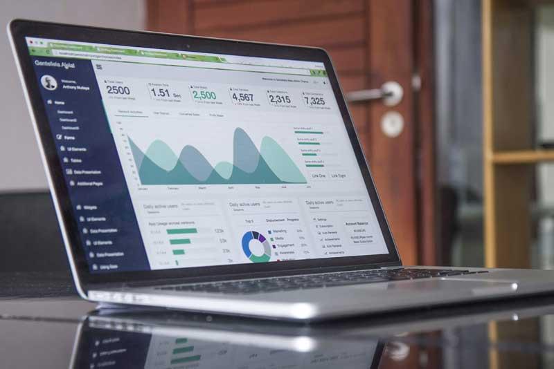 laptop showing marketing data