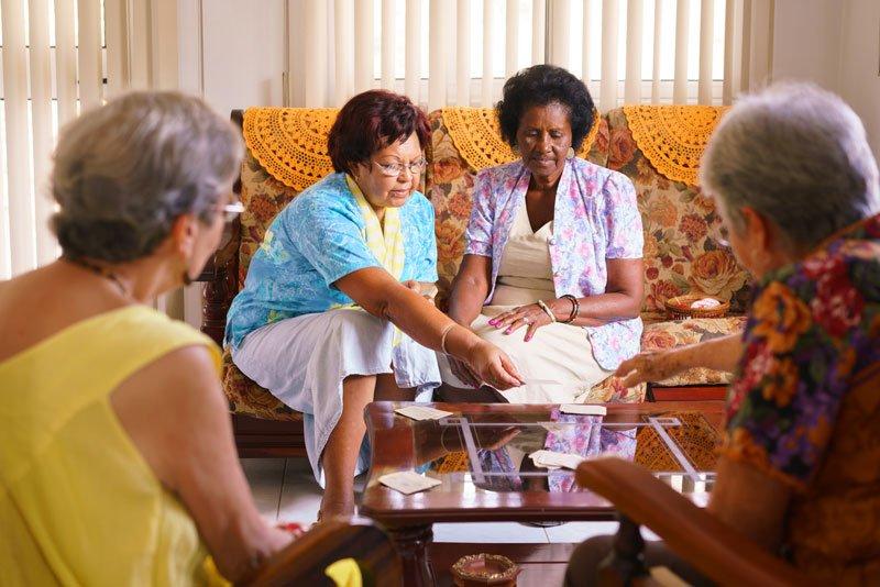 senior women playing card game